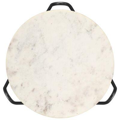vidaXL Soffbord vit 40x40x40 cm äkta sten med marmorstruktur