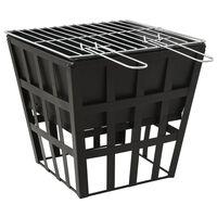 vidaXL 2-i-1 Eldstad och grill  34x34x48 cm stål