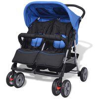 vidaXL Tvillingvagn stål blå och svart