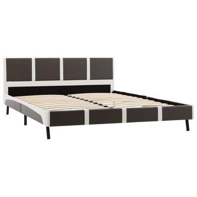 vidaXL Säng med madrass grå och vit konstläder 140x200 cm