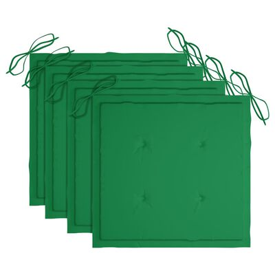 vidaXL Hopfällbara trädgårdsstolar med dynor 4 st massivt akaciaträ, Green