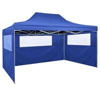 vidaXL Hopfällbart tält med 3 väggar 3x4,5 m blå