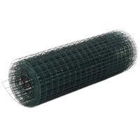 vidaXL Hönsnät stål med PVC-beläggning 10x0,5 m grön