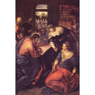 Christ with Mary and Martha,Tintoretto,60x40cm