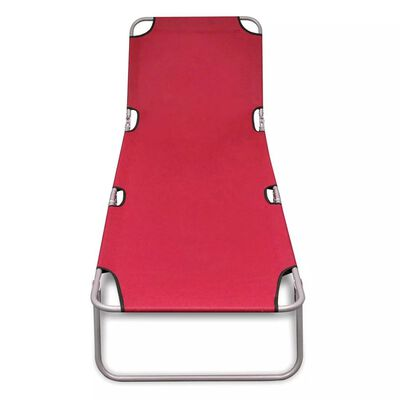 vidaXL Hopfällbar solsäng pulverlackerat stål röd