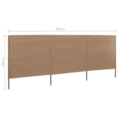 vidaXL Vindskydd 3 paneler tyg 400x160 cm taupe