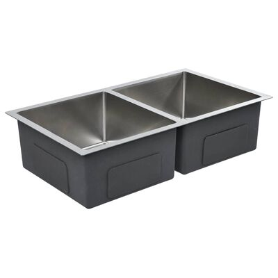 vidaXL Handgjord diskbänk med sil rostfritt stål