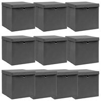 vidaXL Förvaringslådor med lock 10 st grå 32x32x32 cm tyg