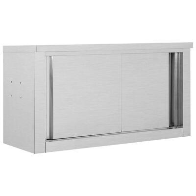vidaXL Köksskåp med skjutdörrar 90x40x50 cm rostfritt stål
