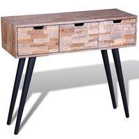 vidaXL Konsolbord med 3 lådor återvunnen teak