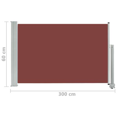 vidaXL Infällbar sidomarkis 60x300 cm brun