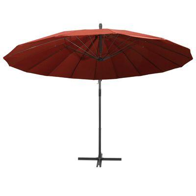 vidaXL Hängande parasoll terrakotta 3 m aluminiumstång