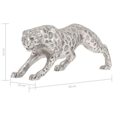vidaXL Skulptur jaguar massiv aluminium 50x10x14 cm silver