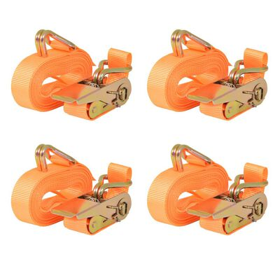 vidaXL Lastspännare med spärr 4 st 0,4 ton 6mx25mm orange