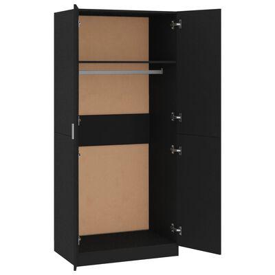 vidaXL Garderob svart 80x52x180 cm spånskiva