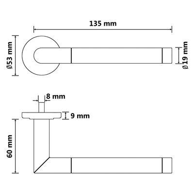vidaXL Dörrhandtag set med PZ-cylinderprofil rostfritt stål