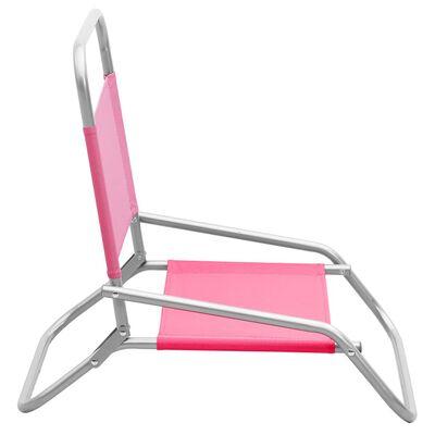 vidaXL Hopfällbara strandstolar 2 st rosa tyg
