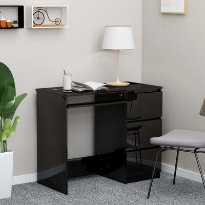 vidaXL Skrivbord svart högglans 90x45x76 cm spånskiva