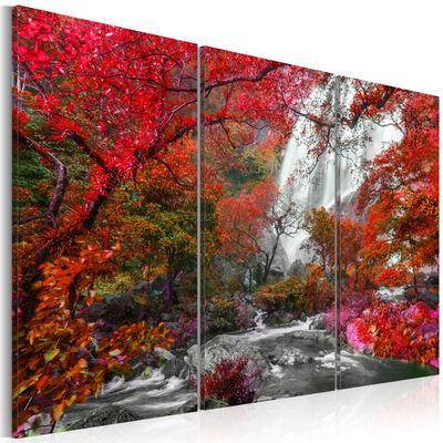 Tavla - Beautiful Waterfall: Autumnal Forest - 90x60 Cm