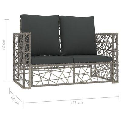 vidaXL Loungegrupp för trädgården med dynor 2 delar konstrotting grå