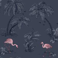 DUTCH WALLCOVERINGS Tapet flamingo petrolblå