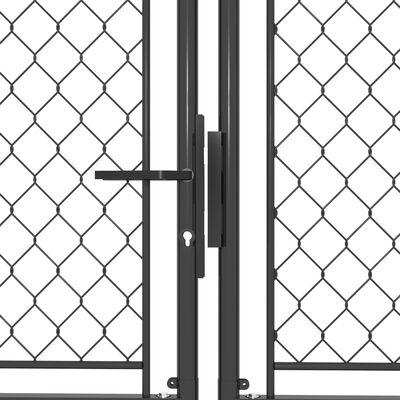 vidaXL Trädgårdsgrind stål 400x150 cm antracit
