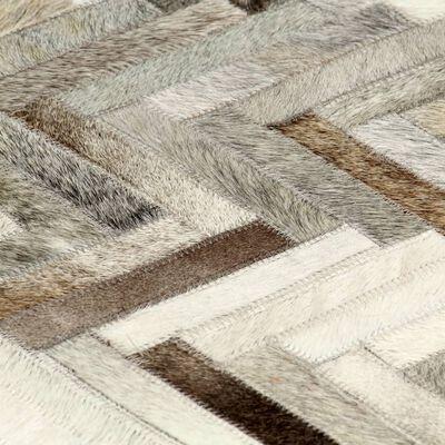 vidaXL Matta lapptäcke äkta läder 120x170 cm grå/vit