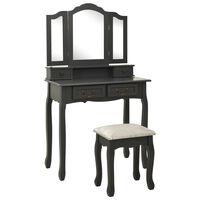 vidaXL Sminkbord med pall grå 80x69x141 cm paulowniaträ