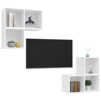 vidaXL TV-skåp 4 delar vit spånskiva