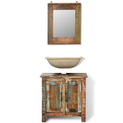 Badrumsskåp återvunnet massivt trä med spegel