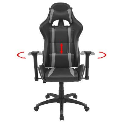 vidaXL Kontorsstol i sportbilsdesign konstläder grå