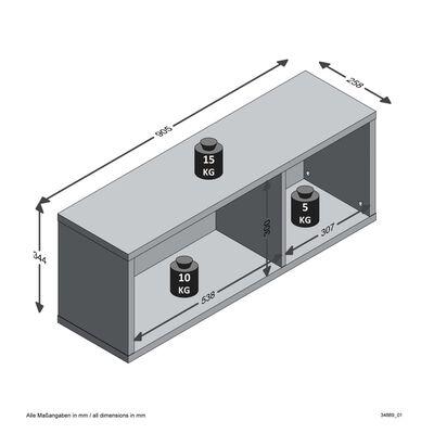 FMD Väggmonterad hylla med 2 fack ek mörk stål