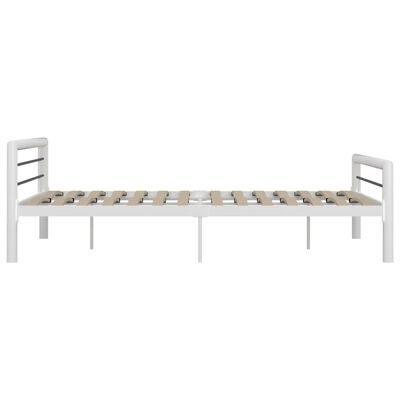 vidaXL Sängram vit och svart metall 180x200 cm, Vit och svart