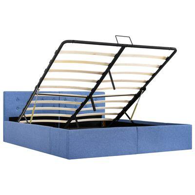 vidaXL Sängram med hydraulisk förvaring blå tyg 160x200 cm
