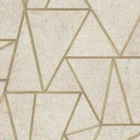 DUTCH WALLCOVERINGS Tapet trianglar beige och guld