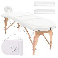 vidaXL Hopfällbar massagebänk 4 cm tjock med 2 bolster oval vit
