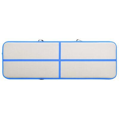 vidaXL Uppblåsbar gymnastikmatta med pump 300x100x15 cm PVC blå, Blue