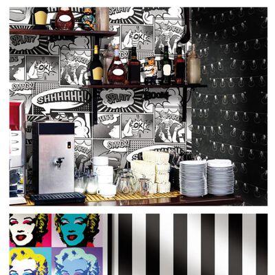 Urban Friends & Coffee Tapet serieteckningar vit och svart
