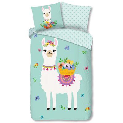 Good Morning Bäddset för barn Llama 135x200 cm mintgrön