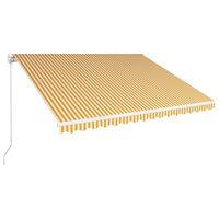 vidaXL Markis manuellt infällbar 400x300 cm gul och vit