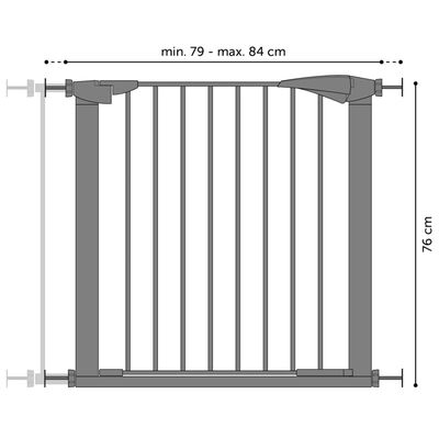 FLAMINGO Säkerhetsgrind Salus grå 79-84 cm
