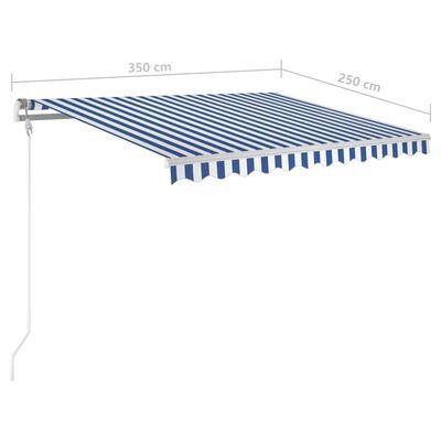 vidaXL Markis med stolpar manuellt infällbar 3,5x2,5 m blå och vit