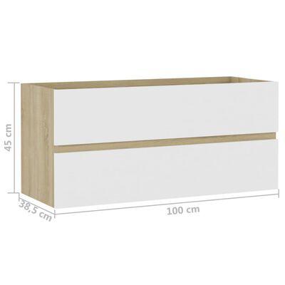 vidaXL Tvättställsskåp vit och sonoma-ek 100x38,5x45 cm spånskiva