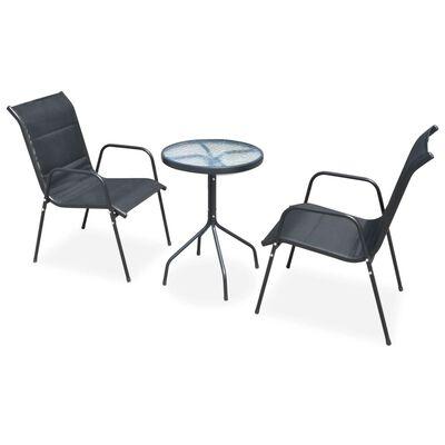 vidaXL Caféset 3 delar stål svart