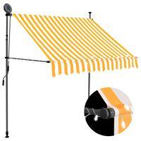 vidaXL Markis manuellt infällbar med LED 200 cm vit och orange
