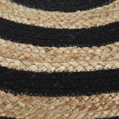 vidaXL Handgjord sittpuff svart 45x30 cm jute,