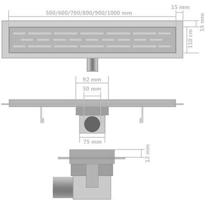 vidaXL Avlång golvbrunn 2 st vågig rostfritt stål 1030x140 mm