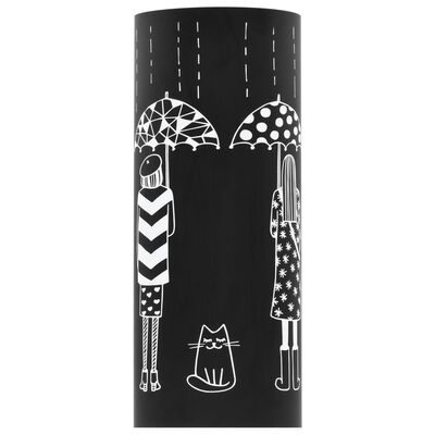 vidaXL Paraplyställ kvinnor stål svart