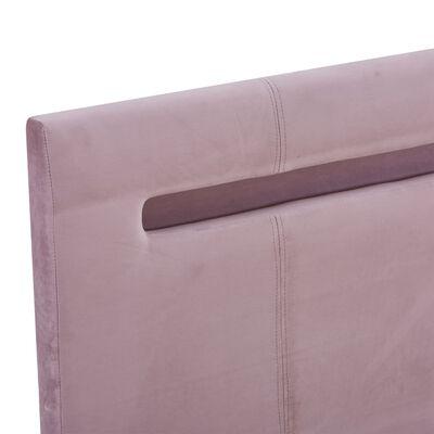 vidaXL Sängram med LED rosa tyg 140x200 cm