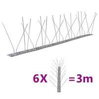vidaXL 4-raders Fågelpiggar i rostfritt stål 6 st 3 m